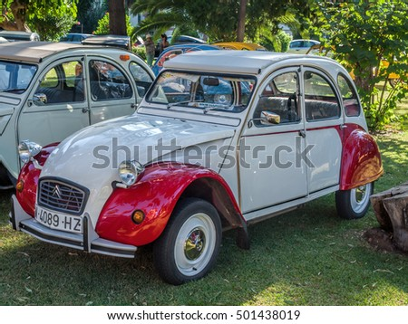 ALGECIRAS, SPAIN - OCTOBER 9, 2016: Concentration of the historic car citroen 2cv that was build in France from the 50s to the 80s and very popular all over western europe.