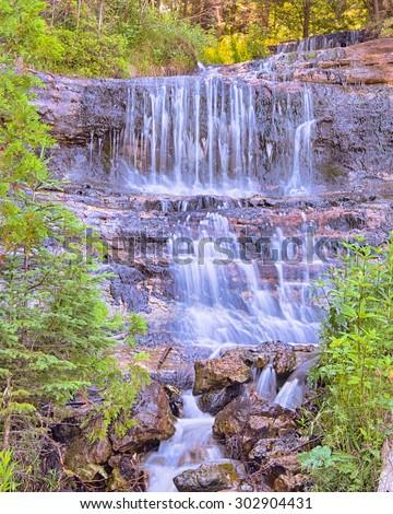 Alger Falls on Alger Creek, in Munising, Michigan. - stock photo