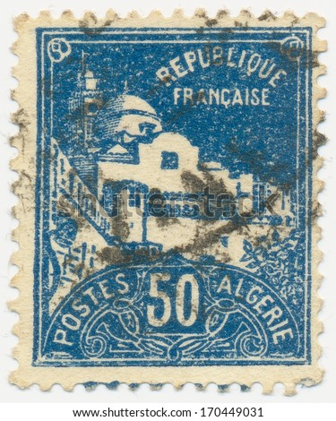 ALGERIA - CIRCA 1926: A stamp printed in Algeria shows Fischer Mosque, circa 1926