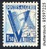 ALGERIA CIRCA 1943: stamp printed by Algeria, shows Slogan One Aim Alone - Victory, circa 1943 - stock photo