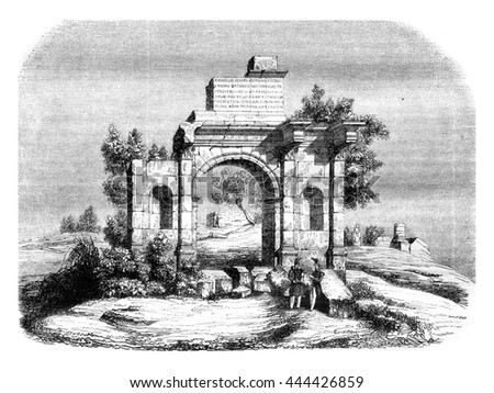 Algeria, Djemila triumphal arch, indicated to be transported to Paris, vintage engraved illustration. Magasin Pittoresque 1843.