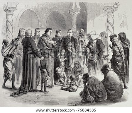 Algeria famine: Algiers' Archbishop gives hospitality to orphans in Episcopal palace. Created by Janet-Lange and Cosson-Smeeton, was published on L'Illustration, Journal Universel, Paris, 1868 - stock photo