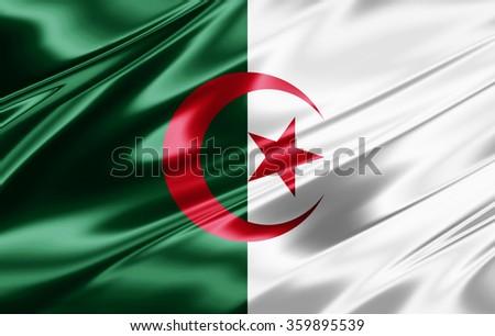 Algeria flag of silk - stock photo