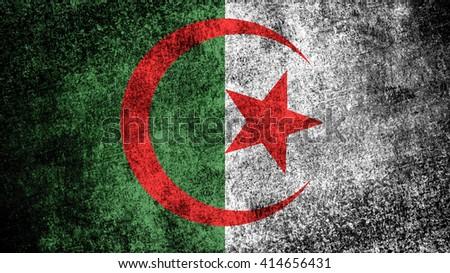 Algeria flag on a dark grungy metal surface - stock photo