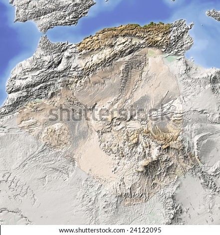 Algeria. Shaded relief map. Surrounding territory greyed out. Colored according to vegetation. Includes clip path for the state area. Data source: NASA - stock photo