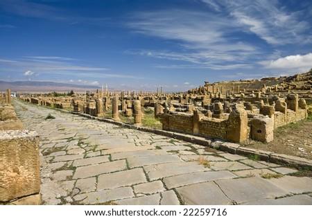 Algeria. Timgad (ancient Thamugadi or Thamugas). General view of Roman city from south - stock photo