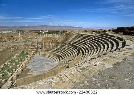 Algeria. Timgad (ancient Thamugadi or Thamugas). There is auditorium (cavea) of the theatre for 3500 seat - stock photo