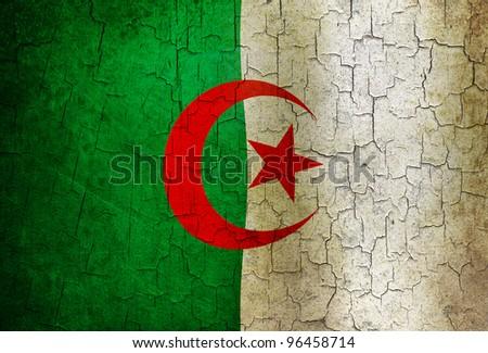 Algerian flag on a cracked grunge background - stock photo