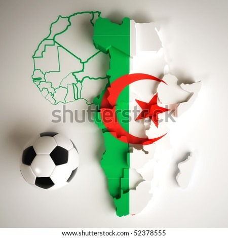Algerian flag on map of Africa with national borders