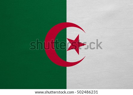 Algerian national official flag. African patriotic symbol, banner, element, background. Correct colors. Flag of Algeria with real detailed fabric texture, accurate size, illustration