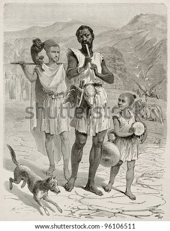 Algerian people in Kabylie old illustration. Created by Stop after Duhousset, published on Le Tour Du Monde, Paris, 1867 - stock photo
