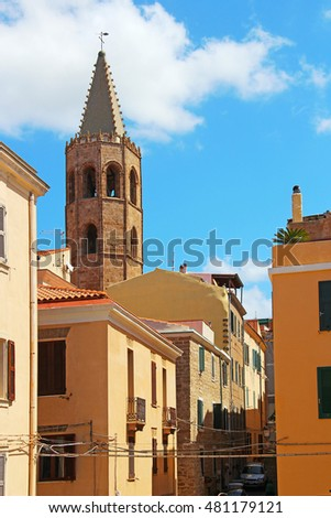 Alghero old town and St. Mary Cathedral, Sardinia, Italy