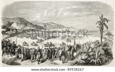 Algiers racecourse old illustration, France. Created by Worms, published on L'Illustration, Journal Universel, Paris, 1858 - stock photo