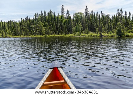 Algonquin Parc nature in Canada, on canoe tour - stock photo
