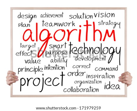 algorithm and other related words handwritten on blackboard with hands