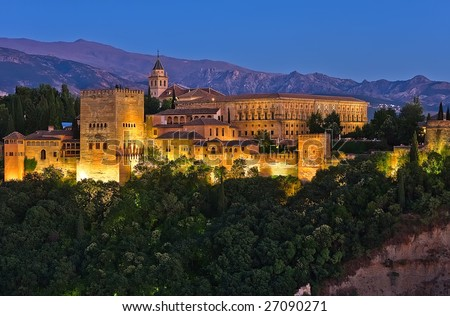 Alhambra after sunset, Granada, Spain - stock photo