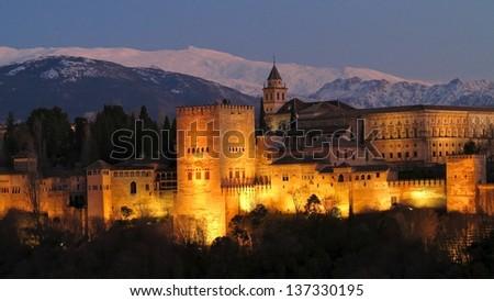 Alhambra at dusk, Granada, Andalusia, Spain - stock photo