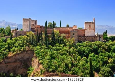 Alhambra at morning, Granada, Spain - stock photo