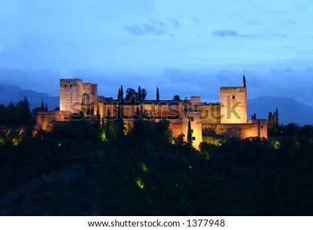 alhambra at night - stock photo