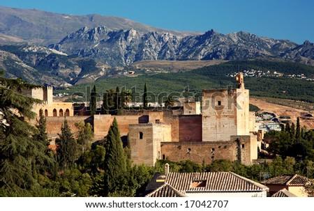 Alhambra at the evening, Granada, Spain - stock photo