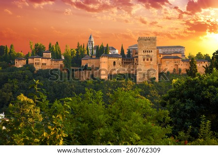Alhambra de Granada. Exterior view of the Palacios Nazaries and the Partal area at sunset. Spain