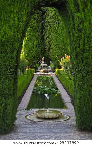 Alhambra garden's. Granada, Andalusia, Spain. - stock photo