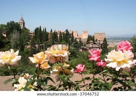 Alhambra Gardens in Granada, Spain - stock photo