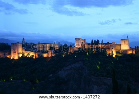 alhambra of Granada at night 2, spain - stock photo