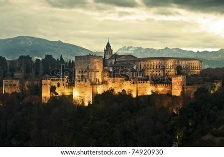 Alhambra Palace at Dusk - stock photo