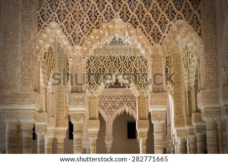 alhambra pillars - stock photo