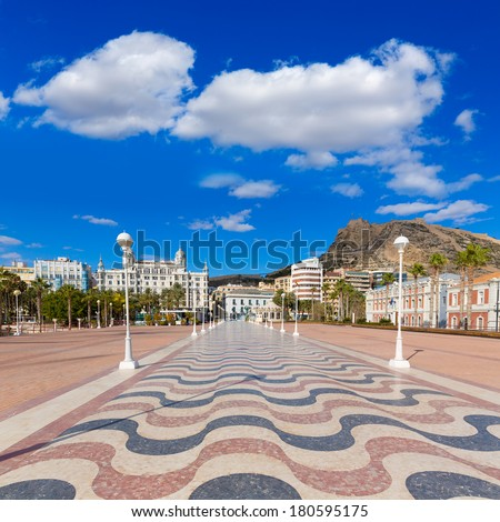 Alicante city and castle from port in Mediterranean Spain Valencian Community - stock photo