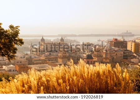 Alicante cityscape skyline in mediterranean sea Valencian Community of spain - stock photo