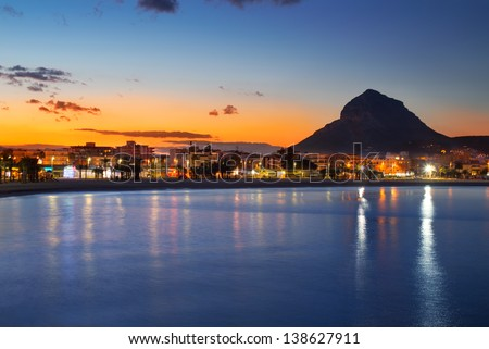 Alicante Javea sunset beach cityscape night view - stock photo