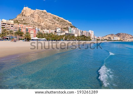 Alicante Postiguet beach and castle Santa Barbara in Spain Valencian Community - stock photo
