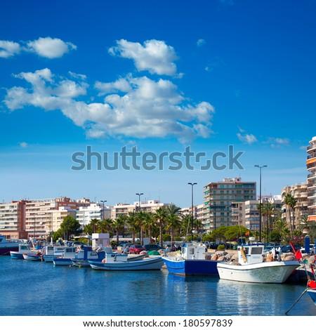 Alicante Santa Pola port marina from valencian Community at spain - stock photo