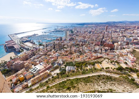 Alicante skyline aerial view  - stock photo