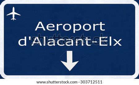 Alicante Spain Airport Highway Sign 2D Illustration