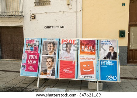 ALICANTE, SPAIN-DECEMBER 5, 2015: Political campaign posterS depicting several presidential candidates on the kickoff to the 2015 elections. - stock photo