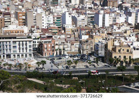 ALICANTE, SPAIN - JANUARY 8, 2010: Cityscape viewed from the Santa Barbara castle. It is the second largest city of Valencian community