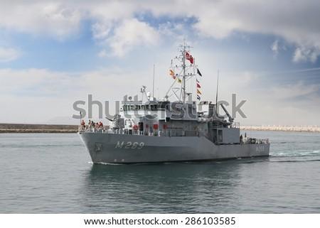 ALICANTE, SPAIN - JUNE 03: Turkish minesweeper vessel entering in the port of Alicante; Spain; on june 03, 2015 in Alicante. - stock photo