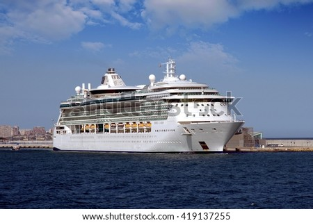 ALICANTE, SPAIN   MAY 11. The luxury cruise JEWEK OF THE SEAS is docked in the port of Alicante on may 11, 2016 in Alicante. - stock photo