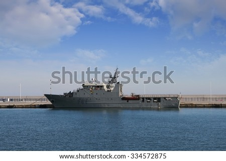ALICANTE, SPAIN   OCTOBER 12: The Spanish warship coastguard TARIFA is docked in the harbor of Alicante, on october 12, 2015 in Alicante. - stock photo