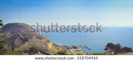 ALICANTE, SPAIN - SEPTEMBER 9, 2014: panorama of the city of Alicante is the castle of Santa Barbara, Valencia Spain