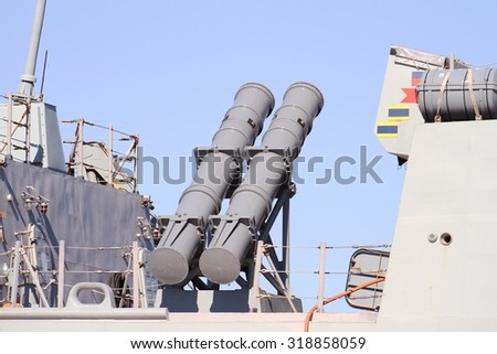 ALICANTE, SPAIN - SEPTEMBER 19: The  AGM-84 Harpoon anti-ship missile system on the Frigate F-104 MENDEZ NUÃ?EZ of the Spanish Navy docked in the port of Alicante, on September 19, 2015 in Alicante. - stock photo