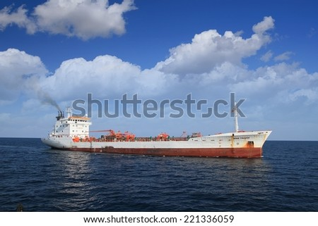 """ALICANTE, SPAIN - SEPTEMBER 22: The wine tanker transport """"Wine Trader""""  is sailing close to the port of Alicante, on september 22, 2014 in Alicante. - stock photo"""