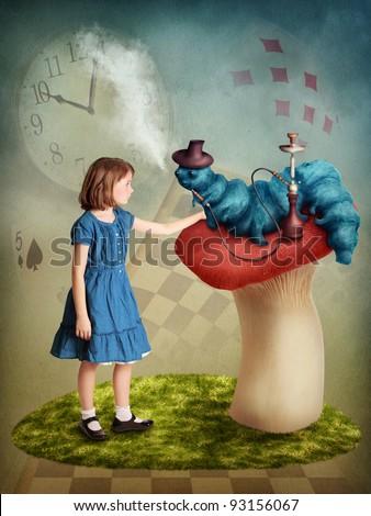 Alice and the Caterpillar smoking his hookah - stock photo