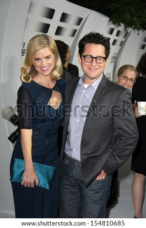 "Alice Eve, J.J. Abrams at the ""Star Trek Into Darkness"" Blu-Ray and DVD Release Party, California Science Center, Los Angeles, CA 09-10-13 - stock photo"