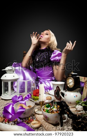 alice in wonderland drink some magic poison - stock photo