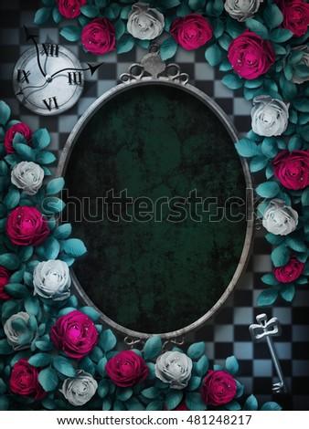 Alice Wonderland Red Roses White Roses Stock Illustration 481248217 ...