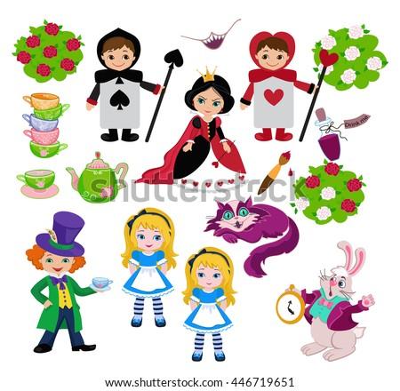 Alice in Wonderland. Set of characters. Raster copy. - stock photo